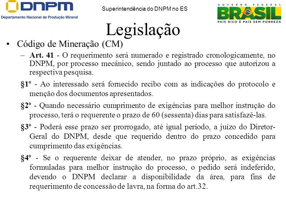 Legislação Código de Mineração (CM) –Art. 41 - O requerimento será numerado e registrado cronologicamente, no DNPM, por processo mecânico, sendo junta