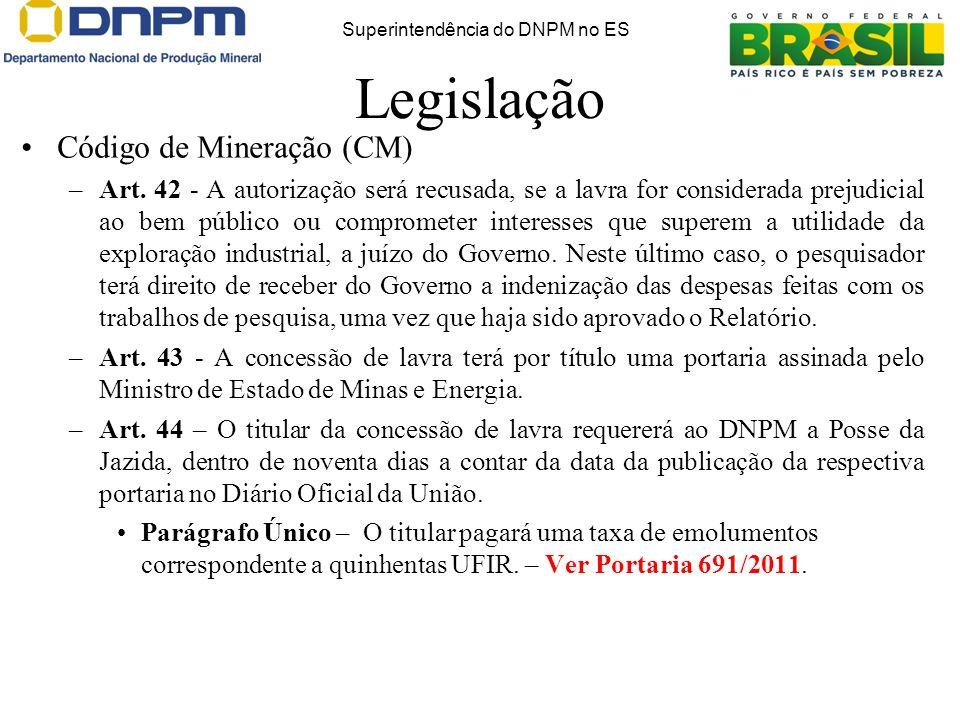 Legislação Código de Mineração (CM) –Art. 42 - A autorização será recusada, se a lavra for considerada prejudicial ao bem público ou comprometer inter