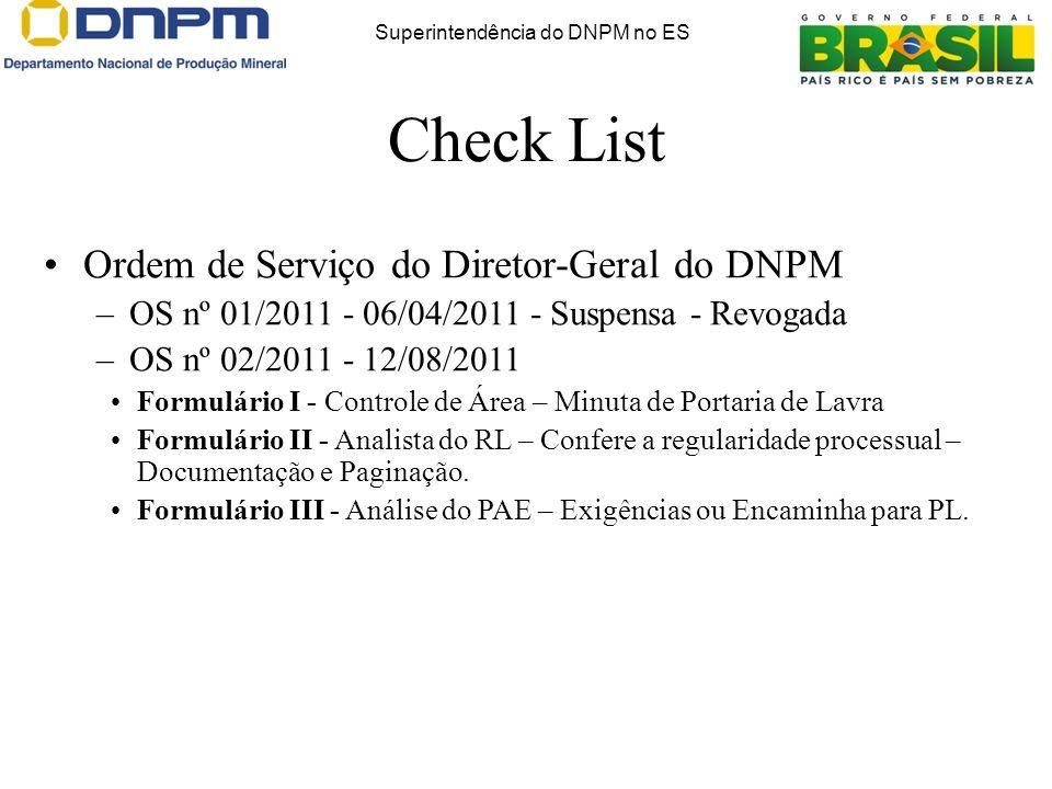 Check List Superintendência do DNPM no ES Ordem de Serviço do Diretor-Geral do DNPM –OS nº 01/2011 - 06/04/2011 - Suspensa - Revogada –OS nº 02/2011 -