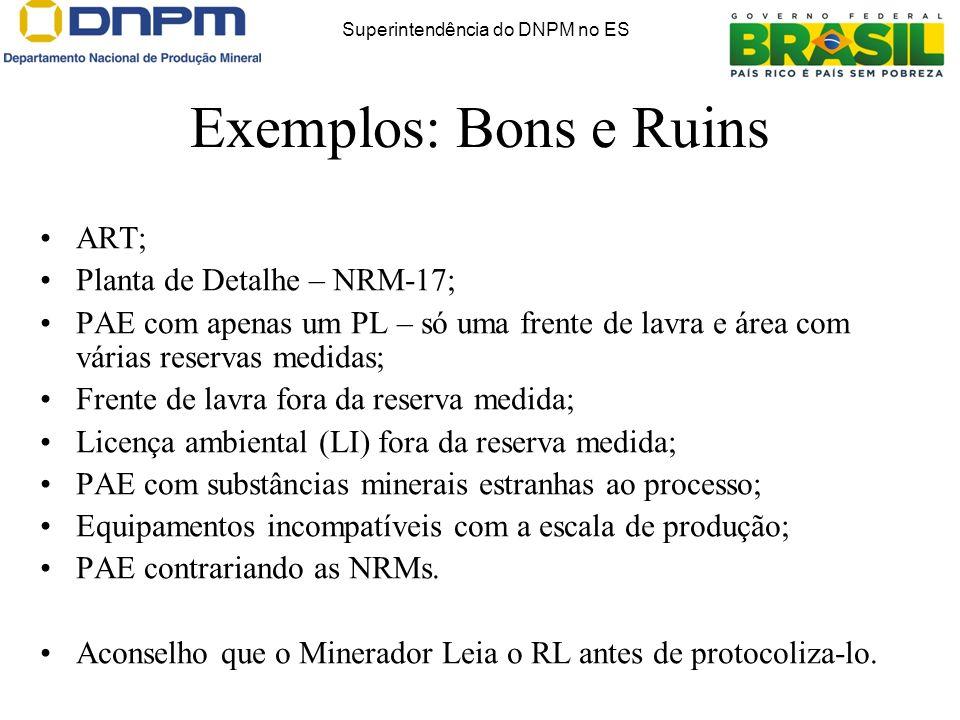 Exemplos: Bons e Ruins ART; Planta de Detalhe – NRM-17; PAE com apenas um PL – só uma frente de lavra e área com várias reservas medidas; Frente de la