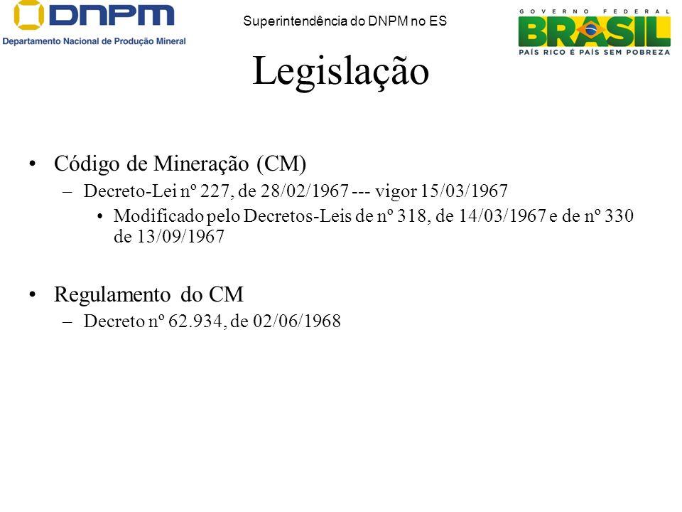 Código de Mineração (CM) –Decreto-Lei nº 227, de 28/02/1967 --- vigor 15/03/1967 Modificado pelo Decretos-Leis de nº 318, de 14/03/1967 e de nº 330 de