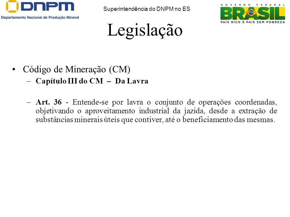 Código de Mineração (CM) –Capítulo III do CM – Da Lavra –Art. 36 - Entende-se por lavra o conjunto de operações coordenadas, objetivando o aproveitame