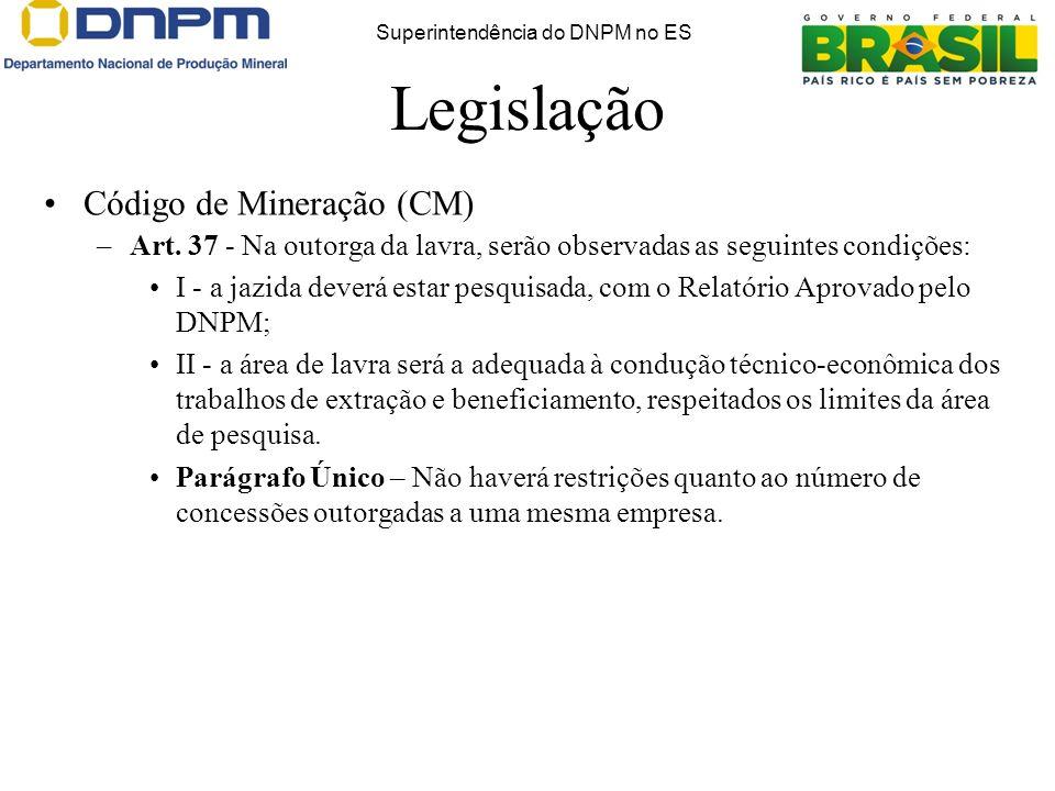 Legislação Código de Mineração (CM) –Art.