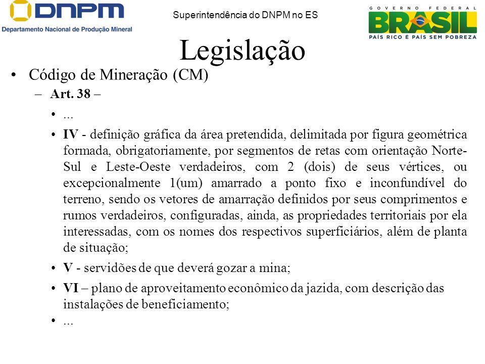 Legislação Código de Mineração (CM) –Art. 38 –... IV - definição gráfica da área pretendida, delimitada por figura geométrica formada, obrigatoriament