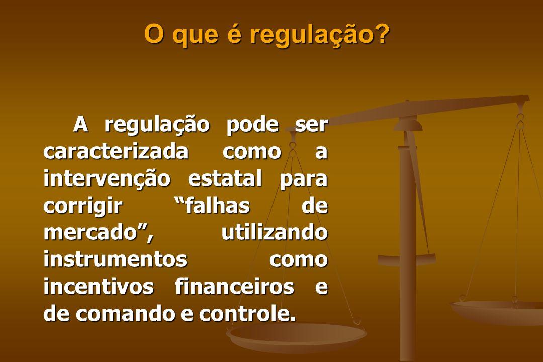 A regulação pode ser caracterizada como a intervenção estatal para corrigir falhas de mercado, utilizando instrumentos como incentivos financeiros e de comando e controle.