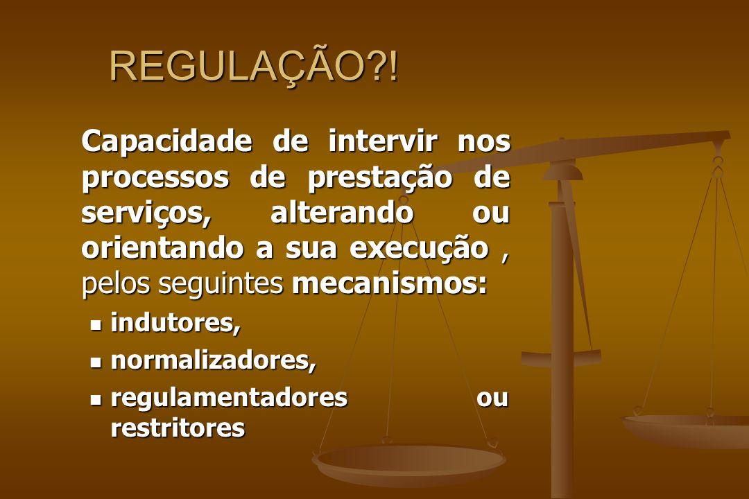 REGULAÇÃO?! Capacidade de intervir nos processos de prestação de serviços, alterando ou orientando a sua execução, pelos seguintes mecanismos: indutor