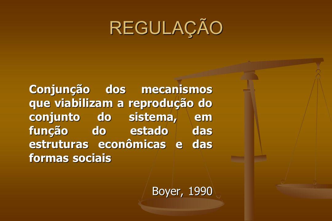 REGULAÇÃO Conjunção dos mecanismos que viabilizam a reprodução do conjunto do sistema, em função do estado das estruturas econômicas e das formas sociais Boyer, 1990