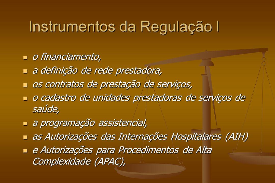 Instrumentos da Regulação I o financiamento, o financiamento, a definição de rede prestadora, a definição de rede prestadora, os contratos de prestação de serviços, os contratos de prestação de serviços, o cadastro de unidades prestadoras de serviços de saúde, o cadastro de unidades prestadoras de serviços de saúde, a programação assistencial, a programação assistencial, as Autorizações das Internações Hospitalares (AIH) as Autorizações das Internações Hospitalares (AIH) e Autorizações para Procedimentos de Alta Complexidade (APAC), e Autorizações para Procedimentos de Alta Complexidade (APAC),