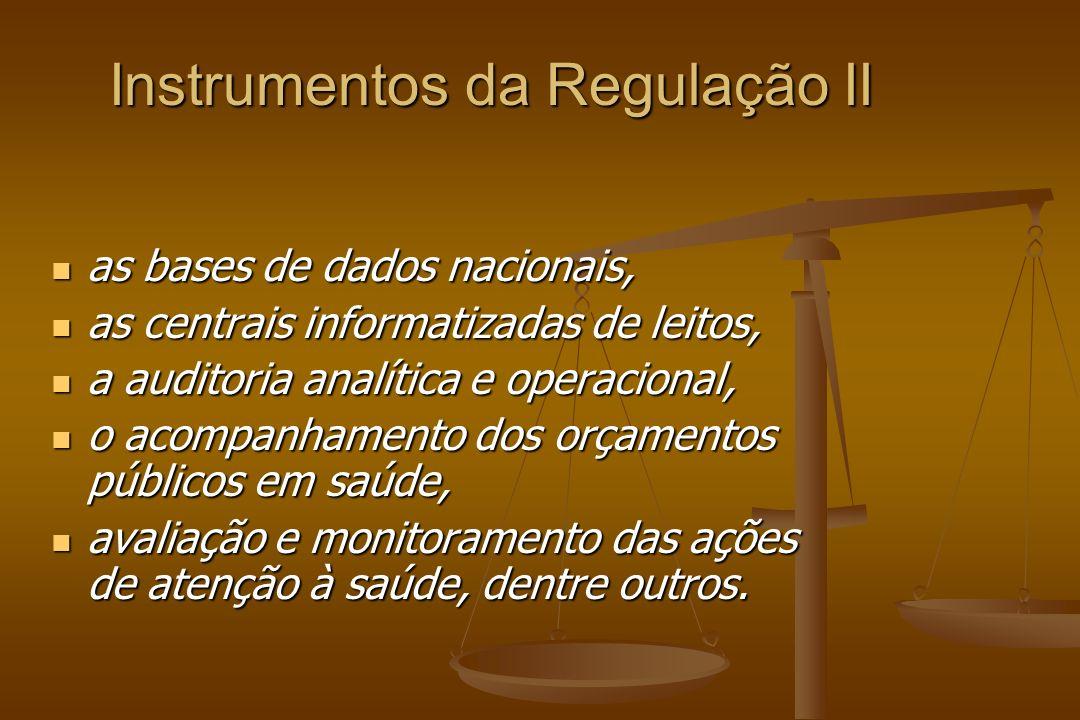 Instrumentos da Regulação II as bases de dados nacionais, as bases de dados nacionais, as centrais informatizadas de leitos, as centrais informatizada