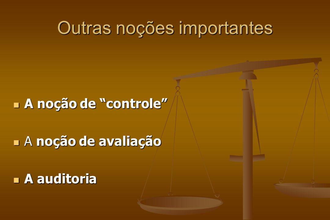 Outras noções importantes A noção de controle A noção de controle A noção de avaliação A noção de avaliação A auditoria A auditoria