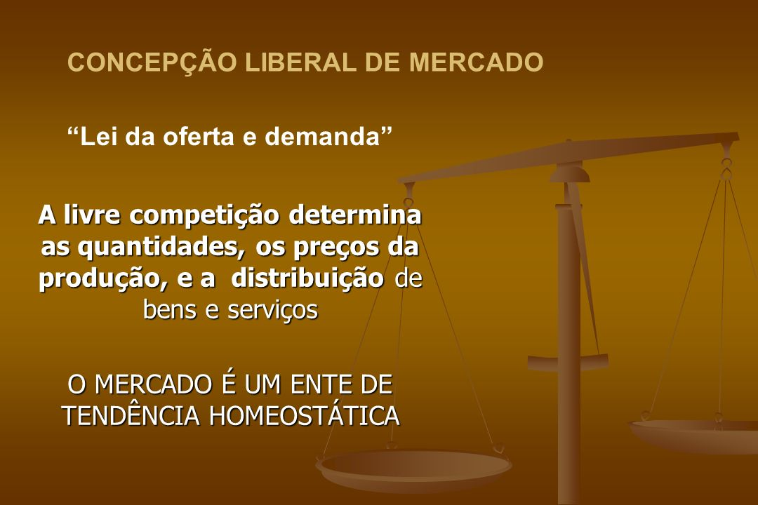 A livre competição determina as quantidades, os preços da produção, e a distribuição de bens e serviços O MERCADO É UM ENTE DE TENDÊNCIA HOMEOSTÁTICA