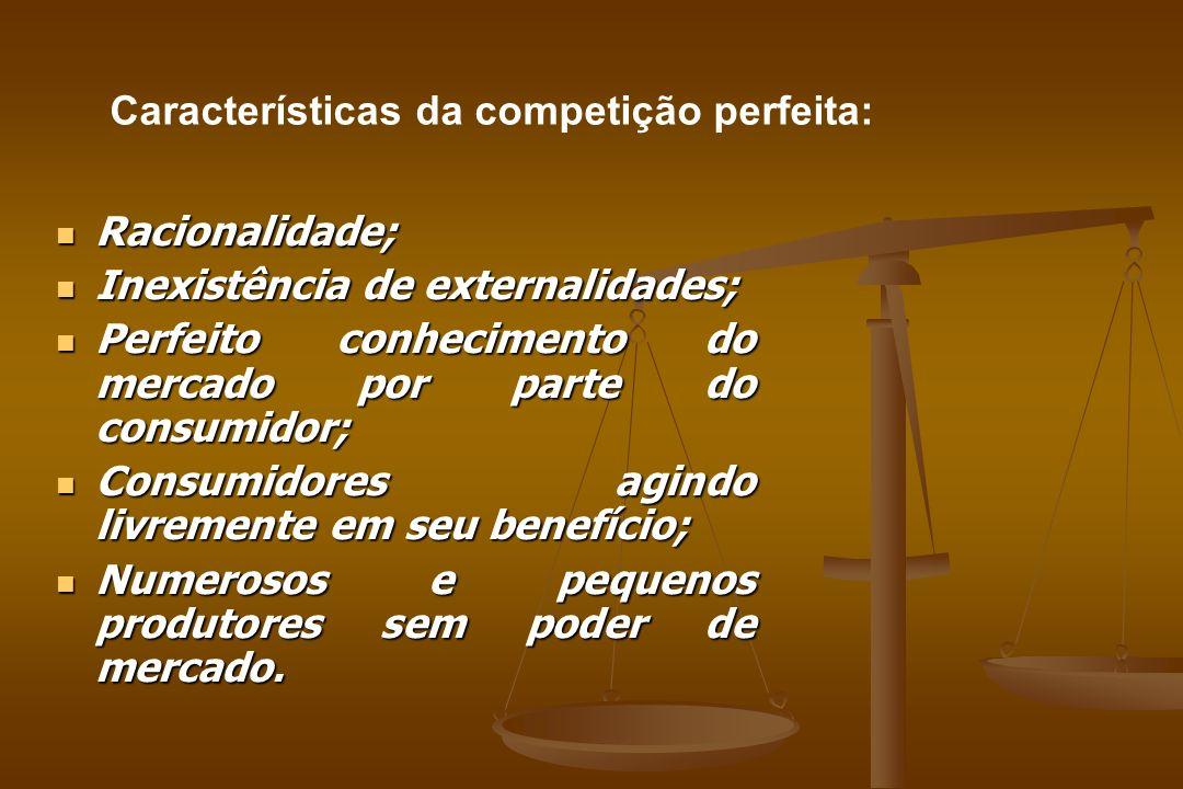 Racionalidade; Racionalidade; Inexistência de externalidades; Inexistência de externalidades; Perfeito conhecimento do mercado por parte do consumidor