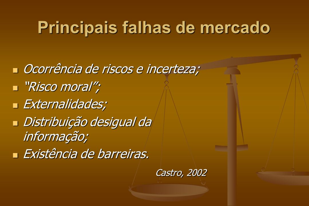 Principais falhas de mercado Ocorrência de riscos e incerteza; Ocorrência de riscos e incerteza; Risco moral; Risco moral; Externalidades; Externalida