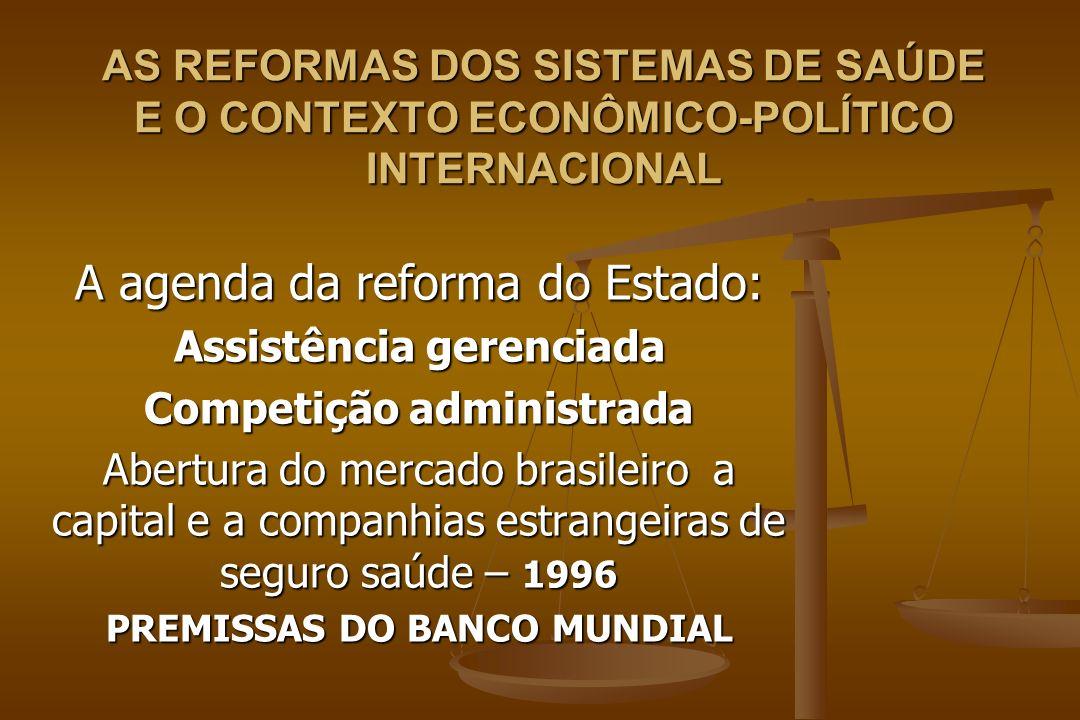 A agenda da reforma do Estado: Assistência gerenciada Competição administrada Abertura do mercado brasileiro a capital e a companhias estrangeiras de