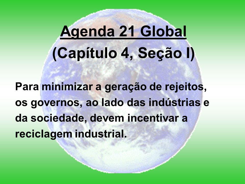 Para minimizar a geração de rejeitos, os governos, ao lado das indústrias e da sociedade, devem incentivar a reciclagem industrial.