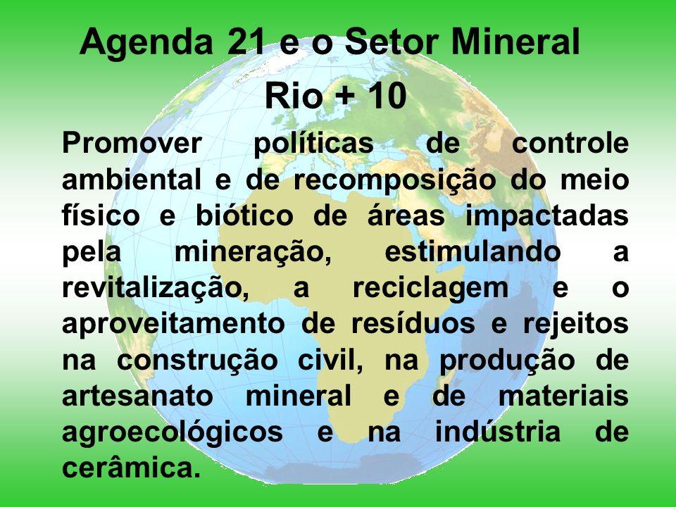 Agenda 21 e o Setor Mineral Rio + 10 Promover políticas de controle ambiental e de recomposição do meio físico e biótico de áreas impactadas pela mineração, estimulando a revitalização, a reciclagem e o aproveitamento de resíduos e rejeitos na construção civil, na produção de artesanato mineral e de materiais agroecológicos e na indústria de cerâmica.
