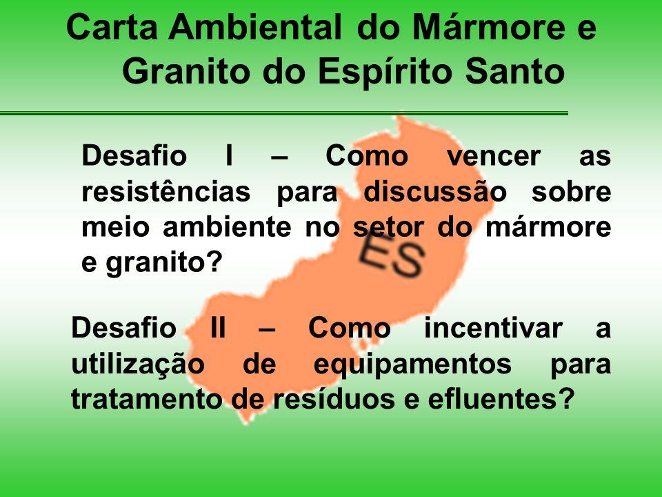 Carta Ambiental do Mármore e Granito do Espírito Santo Desafio I – Como vencer as resistências para discussão sobre meio ambiente no setor do mármore e granito.
