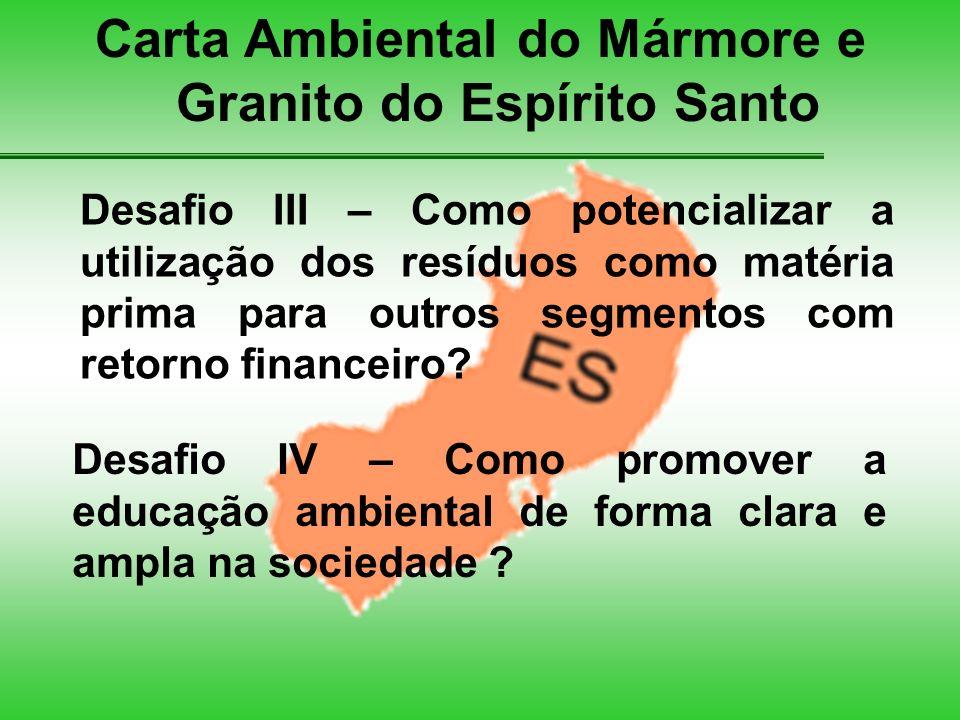 Carta Ambiental do Mármore e Granito do Espírito Santo Desafio III – Como potencializar a utilização dos resíduos como matéria prima para outros segmentos com retorno financeiro.