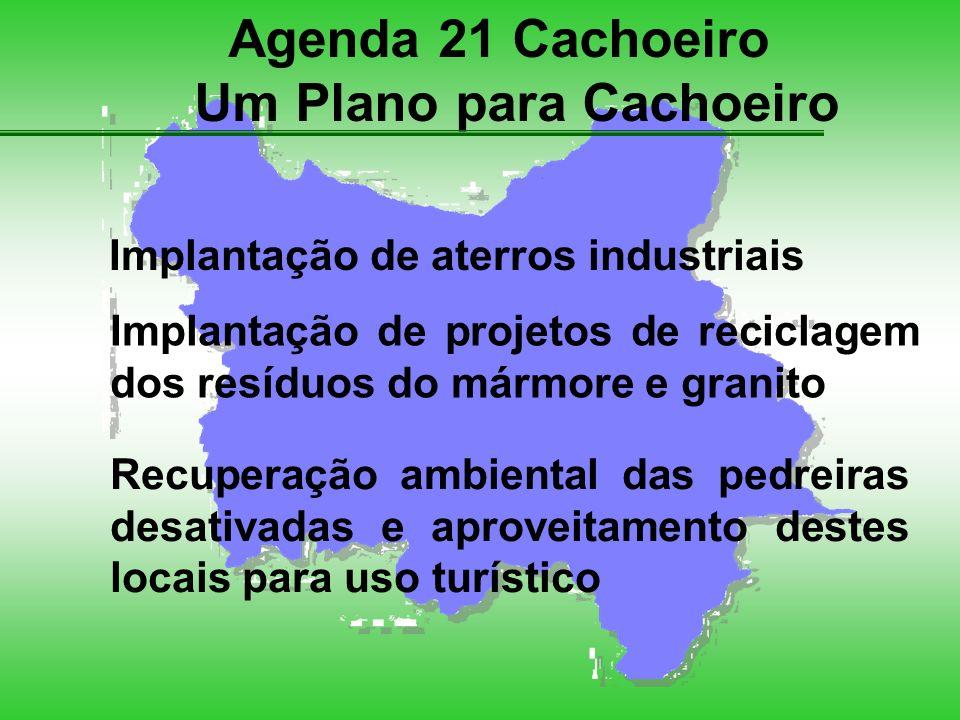 Agenda 21 Cachoeiro Um Plano para Cachoeiro Implantação de aterros industriais Implantação de projetos de reciclagem dos resíduos do mármore e granito Recuperação ambiental das pedreiras desativadas e aproveitamento destes locais para uso turístico