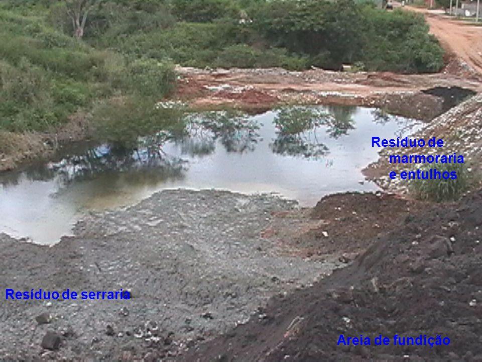 Areia de fundição Resíduo de serraria Resíduo de marmoraria e entulhos