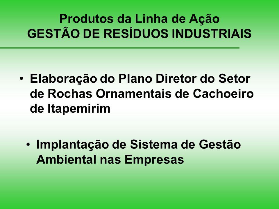 Produtos da Linha de Ação GESTÃO DE RESÍDUOS INDUSTRIAIS Implantação de Sistema de Gestão Ambiental nas Empresas Elaboração do Plano Diretor do Setor de Rochas Ornamentais de Cachoeiro de Itapemirim