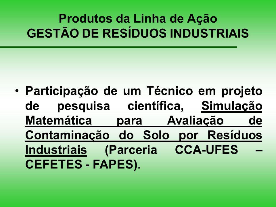 Produtos da Linha de Ação GESTÃO DE RESÍDUOS INDUSTRIAIS Participação de um Técnico em projeto de pesquisa científica, Simulação Matemática para Avaliação de Contaminação do Solo por Resíduos Industriais (Parceria CCA-UFES – CEFETES - FAPES).