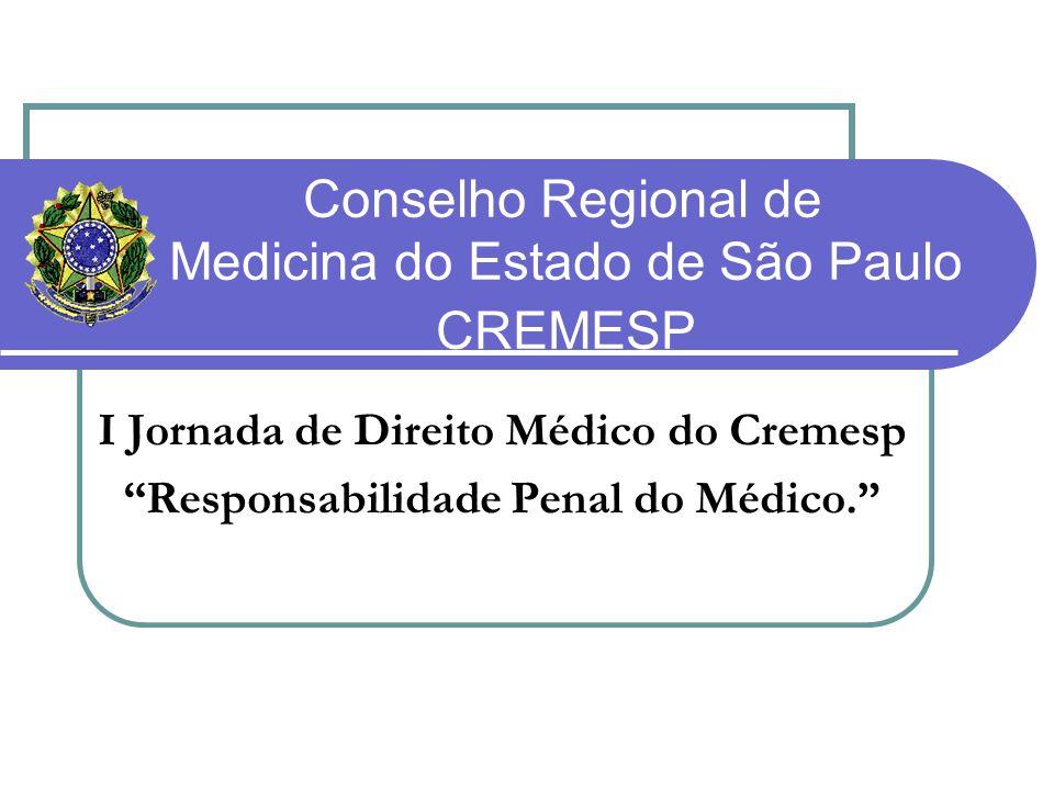 Conselho Regional de Medicina do Estado de São Paulo CREMESP I Jornada de Direito Médico do Cremesp Responsabilidade Penal do Médico.