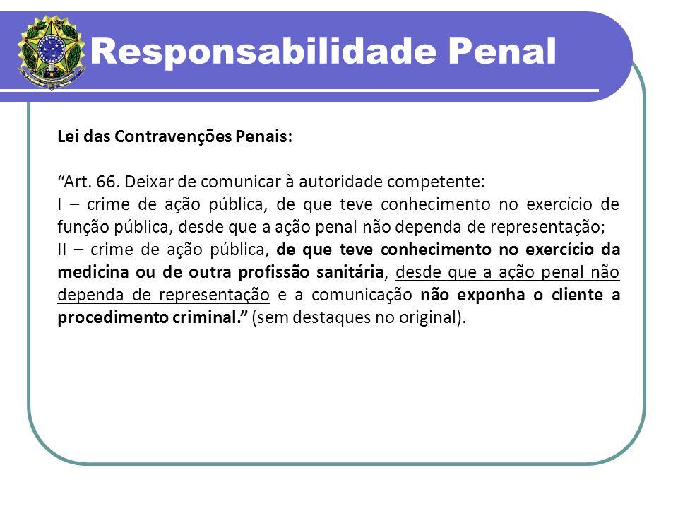 Responsabilidade Penal Lei das Contravenções Penais: Art.