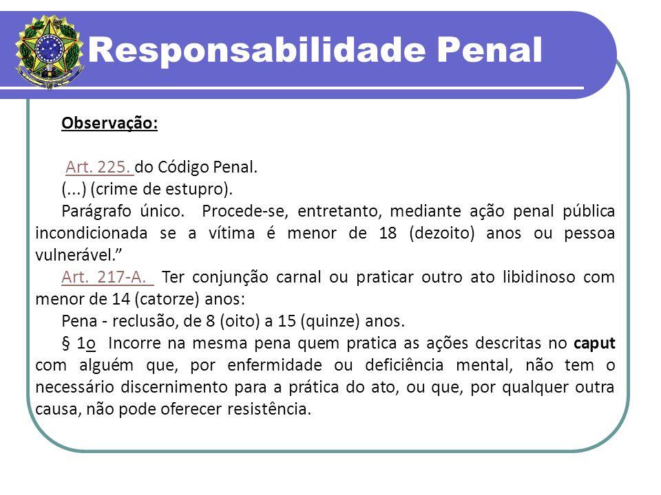 Responsabilidade Penal Observação: Art.225. do Código Penal.Art.