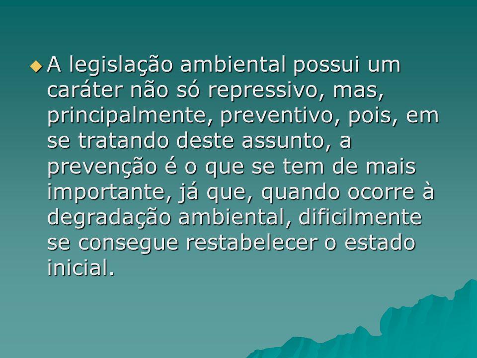 A legislação ambiental possui um caráter não só repressivo, mas, principalmente, preventivo, pois, em se tratando deste assunto, a prevenção é o que s