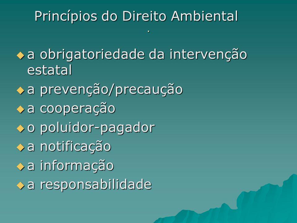 . Princípios do Direito Ambiental Princípios do Direito Ambiental a obrigatoriedade da intervenção estatal a obrigatoriedade da intervenção estatal a