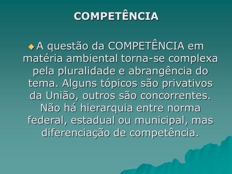 COMPETÊNCIA A questão da COMPETÊNCIA em matéria ambiental torna-se complexa pela pluralidade e abrangência do tema. Alguns tópicos são privativos da U