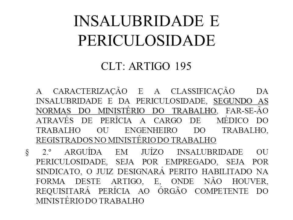 INSALUBRIDADE E PERICULOSIDADE CLT: ARTIGO 195 SEGUNDO AS NORMAS DO MINISTÉRIO DO TRABALHO A CARACTERIZAÇÃO E A CLASSIFICAÇÃO DA INSALUBRIDADE E DA PE