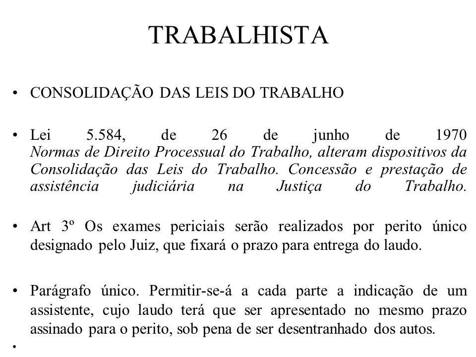 TRABALHISTA CONSOLIDAÇÃO DAS LEIS DO TRABALHO Lei 5.584, de 26 de junho de 1970 Normas de Direito Processual do Trabalho, alteram dispositivos da Cons