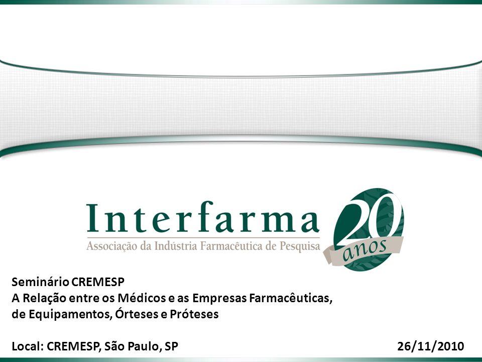Seminário CREMESP A Relação entre os Médicos e as Empresas Farmacêuticas, de Equipamentos, Órteses e Próteses Local: CREMESP, São Paulo, SP26/11/2010