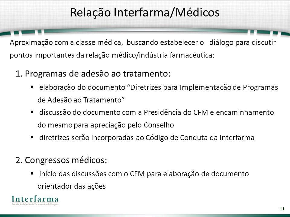 11 Relação Interfarma/Médicos Aproximação com a classe médica, buscando estabelecer o diálogo para discutir pontos importantes da relação médico/indús