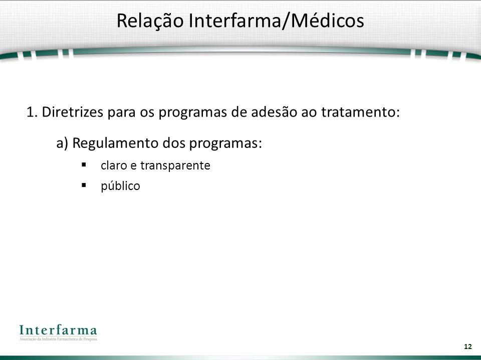 12 1. Diretrizes para os programas de adesão ao tratamento: a) Regulamento dos programas: claro e transparente público Relação Interfarma/Médicos