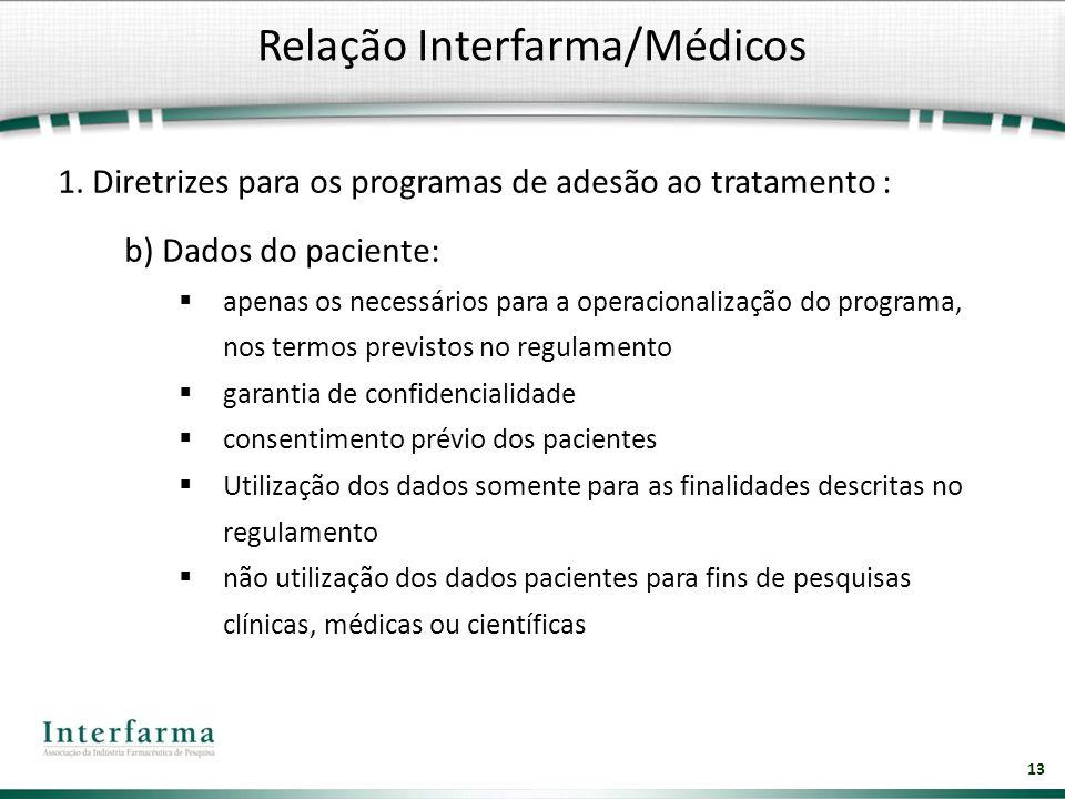 13 1. Diretrizes para os programas de adesão ao tratamento : b) Dados do paciente: apenas os necessários para a operacionalização do programa, nos ter