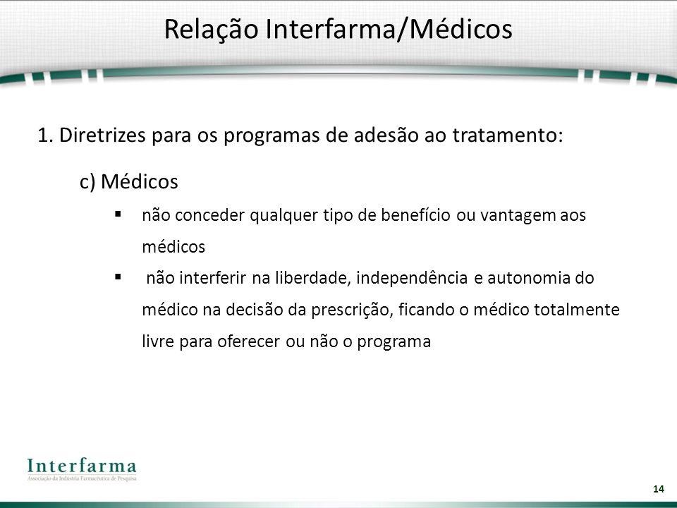 14 1. Diretrizes para os programas de adesão ao tratamento: c) Médicos não conceder qualquer tipo de benefício ou vantagem aos médicos não interferir