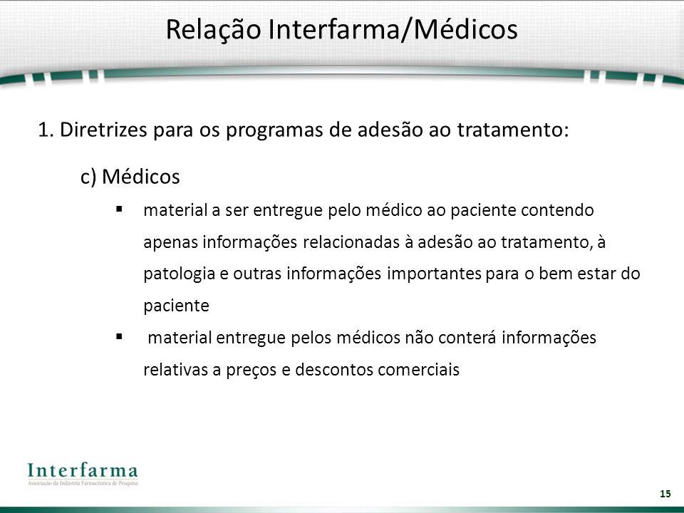 15 1. Diretrizes para os programas de adesão ao tratamento: c) Médicos material a ser entregue pelo médico ao paciente contendo apenas informações rel