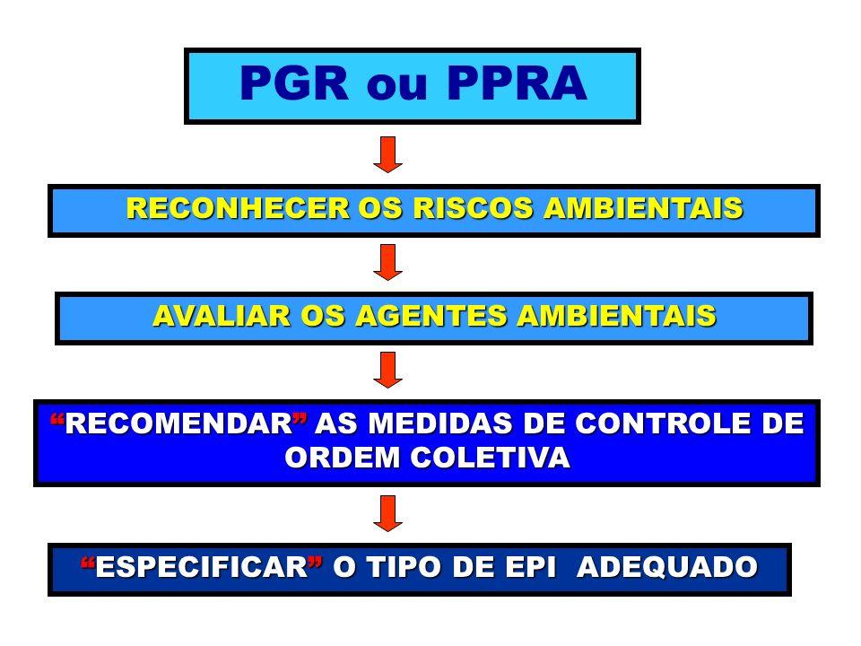 PGR ou PPRA RECONHECER OS RISCOS AMBIENTAIS AVALIAR OS AGENTES AMBIENTAIS RECOMENDAR AS MEDIDAS DE CONTROLE DE ORDEM COLETIVARECOMENDAR AS MEDIDAS DE