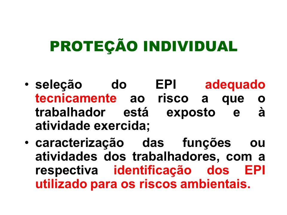 PROTEÇÃO INDIVIDUAL seleção do EPI adequado tecnicamente ao risco a que o trabalhador está exposto e à atividade exercida; caracterização das funções