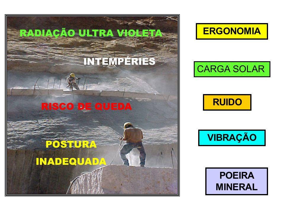 ERGONOMIA CARGA SOLAR RUIDO VIBRAÇÃO POEIRA MINERAL POSTURA INADEQUADA RADIAÇÃO ULTRA VIOLETA RISCO DE QUEDA INTEMPÉRIES
