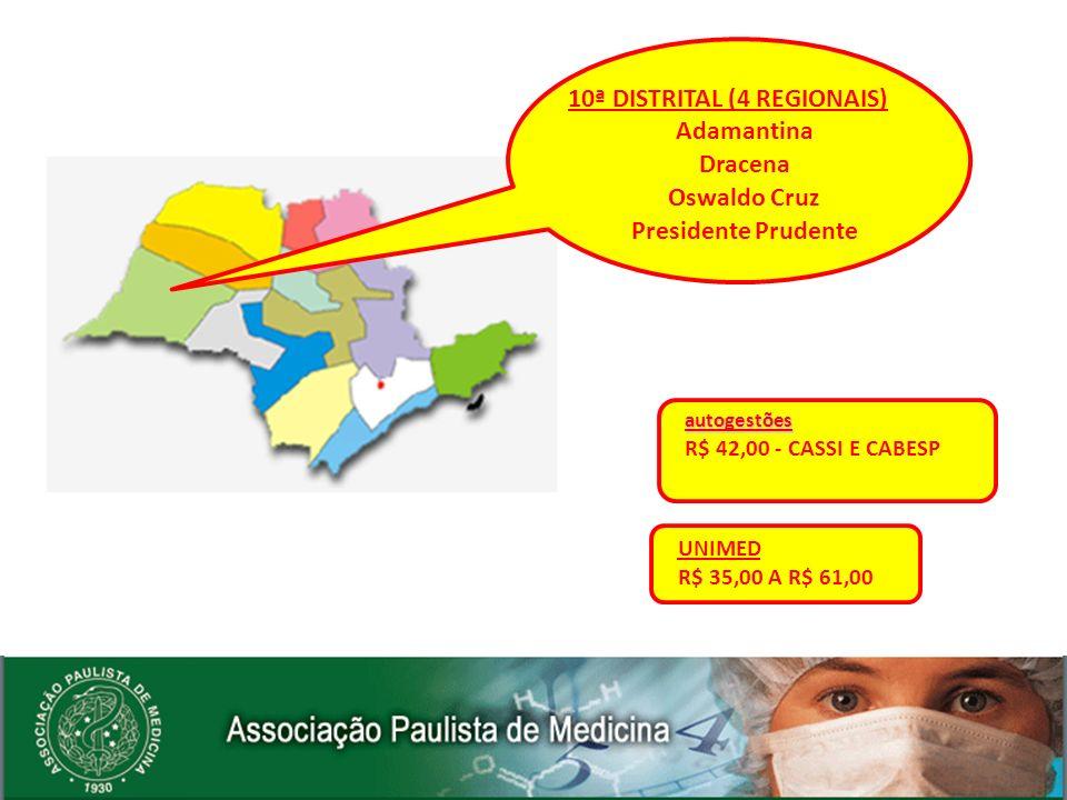autogestões R$ 42,00 - CASSI E CABESP UNIMED R$ 35,00 A R$ 61,00 10ª DISTRITAL (4 REGIONAIS) Adamantina Dracena Oswaldo Cruz Presidente Prudente