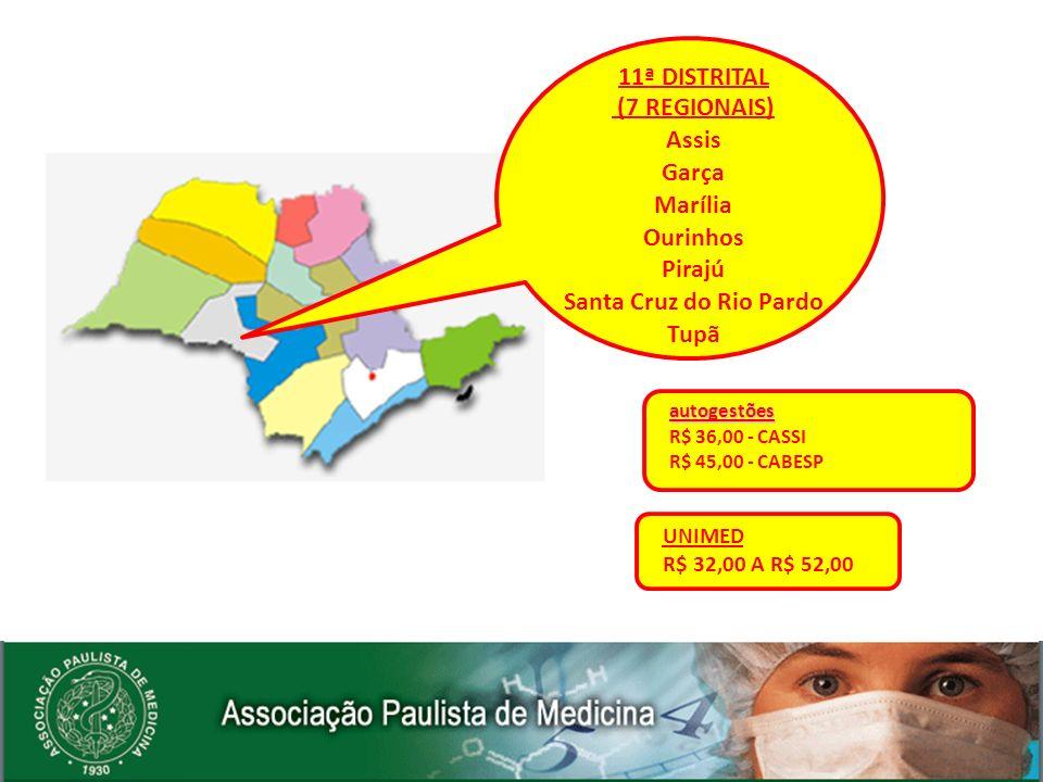 autogestões R$ 36,00 - CASSI R$ 45,00 - CABESP UNIMED R$ 32,00 A R$ 52,00 11ª DISTRITAL (7 REGIONAIS) Assis Garça Marília Ourinhos Pirajú Santa Cruz d