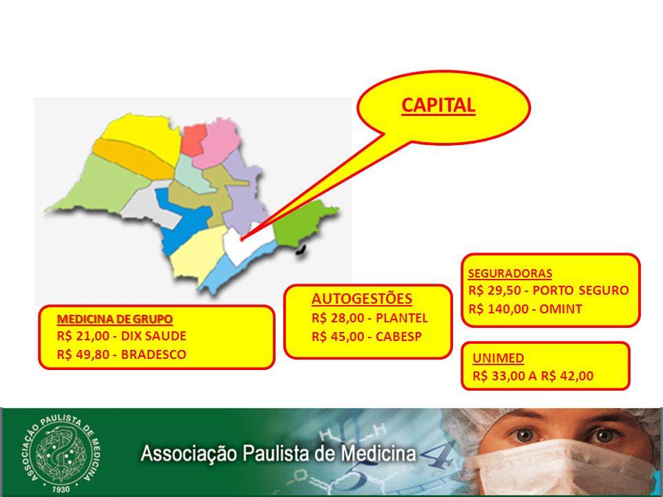 UNIMED R$ 33,00 A R$ 42,00 MEDICINA DE GRUPO R$ 21,00 - DIX SAUDE R$ 49,80 - BRADESCO CAPITAL AUTOGESTÕES R$ 28,00 - PLANTEL R$ 45,00 - CABESP SEGURAD