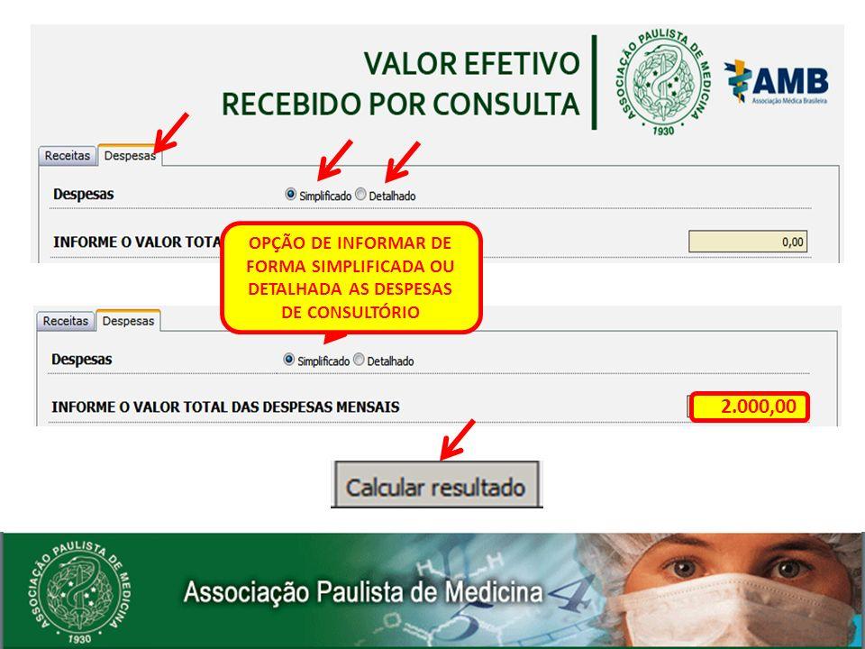 2.000,00 OPÇÃO DE INFORMAR DE FORMA SIMPLIFICADA OU DETALHADA AS DESPESAS DE CONSULTÓRIO