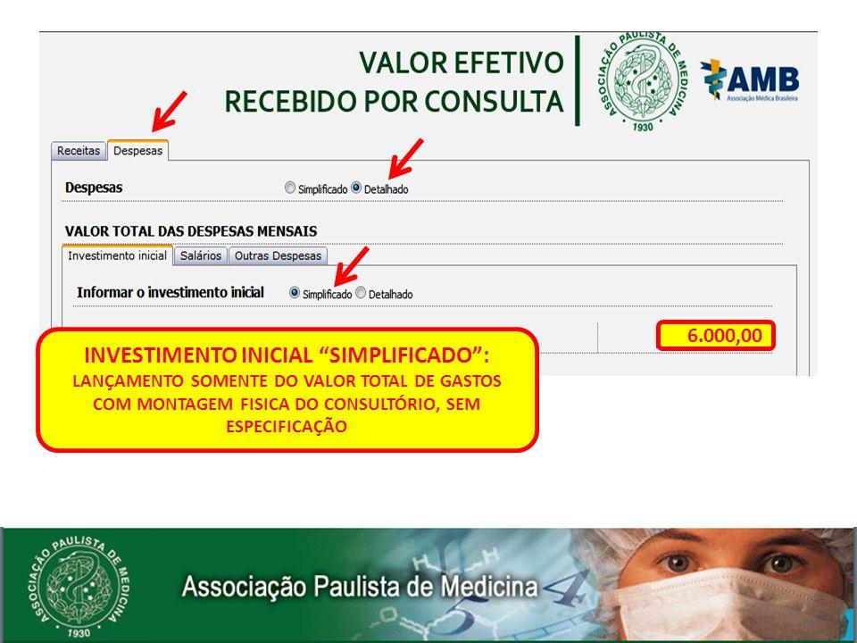 INVESTIMENTO INICIAL SIMPLIFICADO: LANÇAMENTO SOMENTE DO VALOR TOTAL DE GASTOS COM MONTAGEM FISICA DO CONSULTÓRIO, SEM ESPECIFICAÇÃO 6.000,00