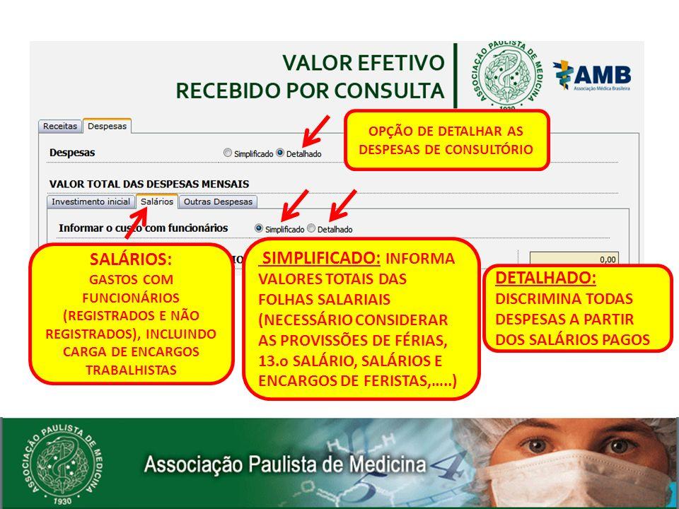 SALÁRIOS: GASTOS COM FUNCIONÁRIOS (REGISTRADOS E NÃO REGISTRADOS), INCLUINDO CARGA DE ENCARGOS TRABALHISTAS OPÇÃO DE DETALHAR AS DESPESAS DE CONSULTÓR