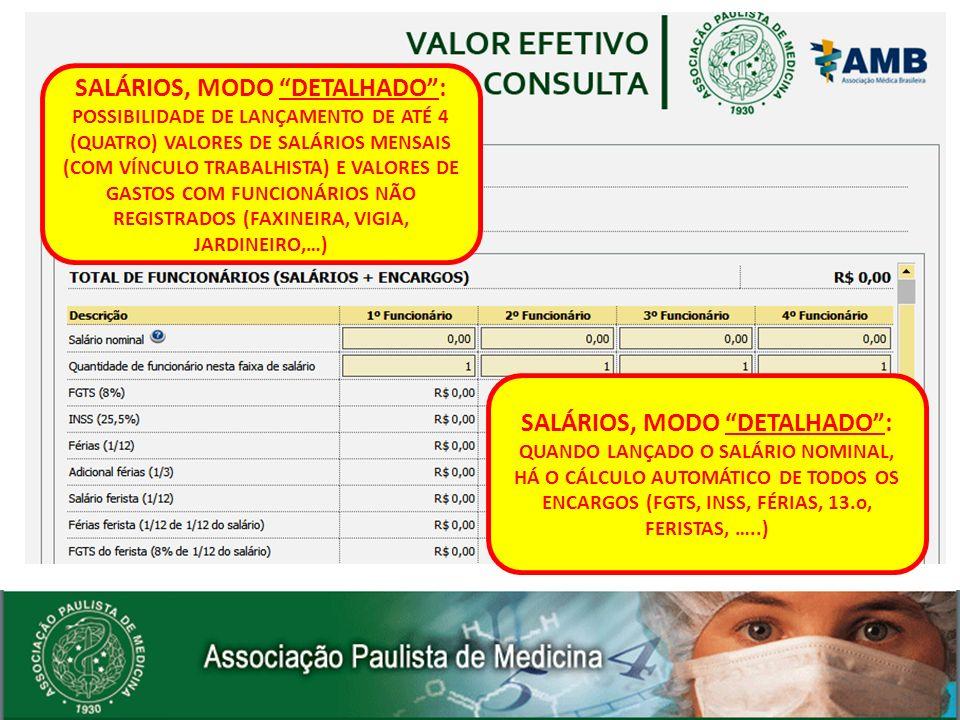 SALÁRIOS, MODO DETALHADO: POSSIBILIDADE DE LANÇAMENTO DE ATÉ 4 (QUATRO) VALORES DE SALÁRIOS MENSAIS (COM VÍNCULO TRABALHISTA) E VALORES DE GASTOS COM